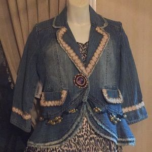 Blue jean jacket with beading and embroidery